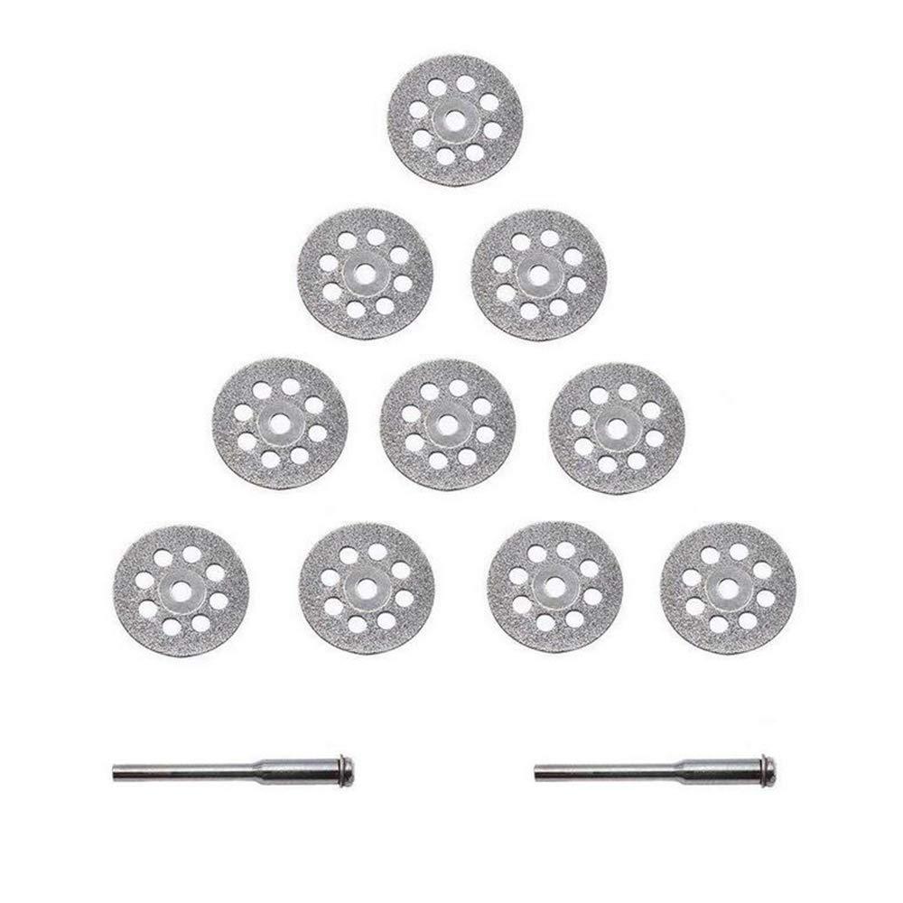 de Bois de Roches 2 x Mandrin Pour la Coupe de Verre Xinlie Disque Diamond Mini disque Disque Diamant 22mm 10 x Coupe de Diamant Mat/ériaux de Carbures de C/éramique de M/étal 12 Pi/èces