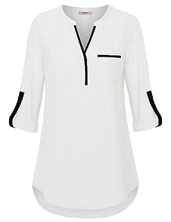 7887f31cab0bd1 Timeson Women s Henley V Neck Chiffon Blouses 3 4 Cuffed Sleeve ...