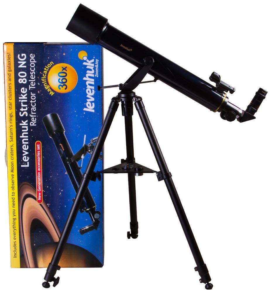Levenhuk Strike 80 NG Refactor Telescope for Beginners with Astronomy Book, Space Posters, Start Chart and Compass in The Kit by Levenhuk