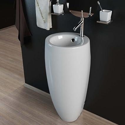 Design Keramik Standwaschbecken Waschtisch Waschsäule Säule Standwaschtisch  Rund Oval Gäste WC Becken KBE501