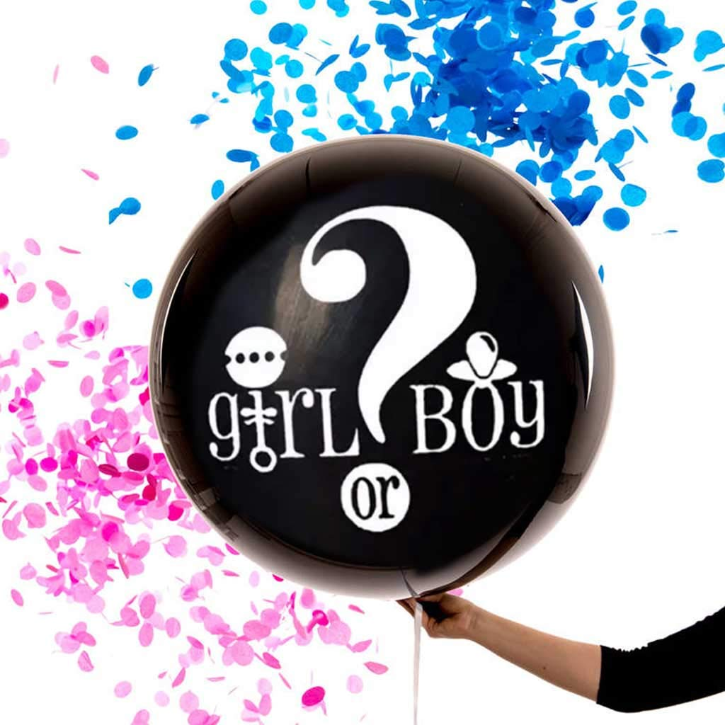 """Gender Reveal Balloon – GIANT 36"""" XL Balloon – 2 PACK - Includes Pink and Blue Confetti – Boy or Girl – Gender Reveal Party Supplies"""
