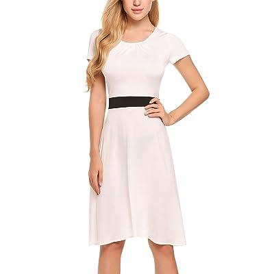 ACEVOG Damen Elegant Patchwork Business Kleid Cocktailkleid Etuikleid 2 in 1 Festlich Kurzarm Strickkleid Abendkleid