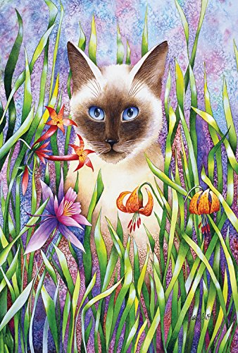 Toland Home Garden Staring Siamese 28 x 40 Inch Decorative Spring Flower Kitty Cat House Flag