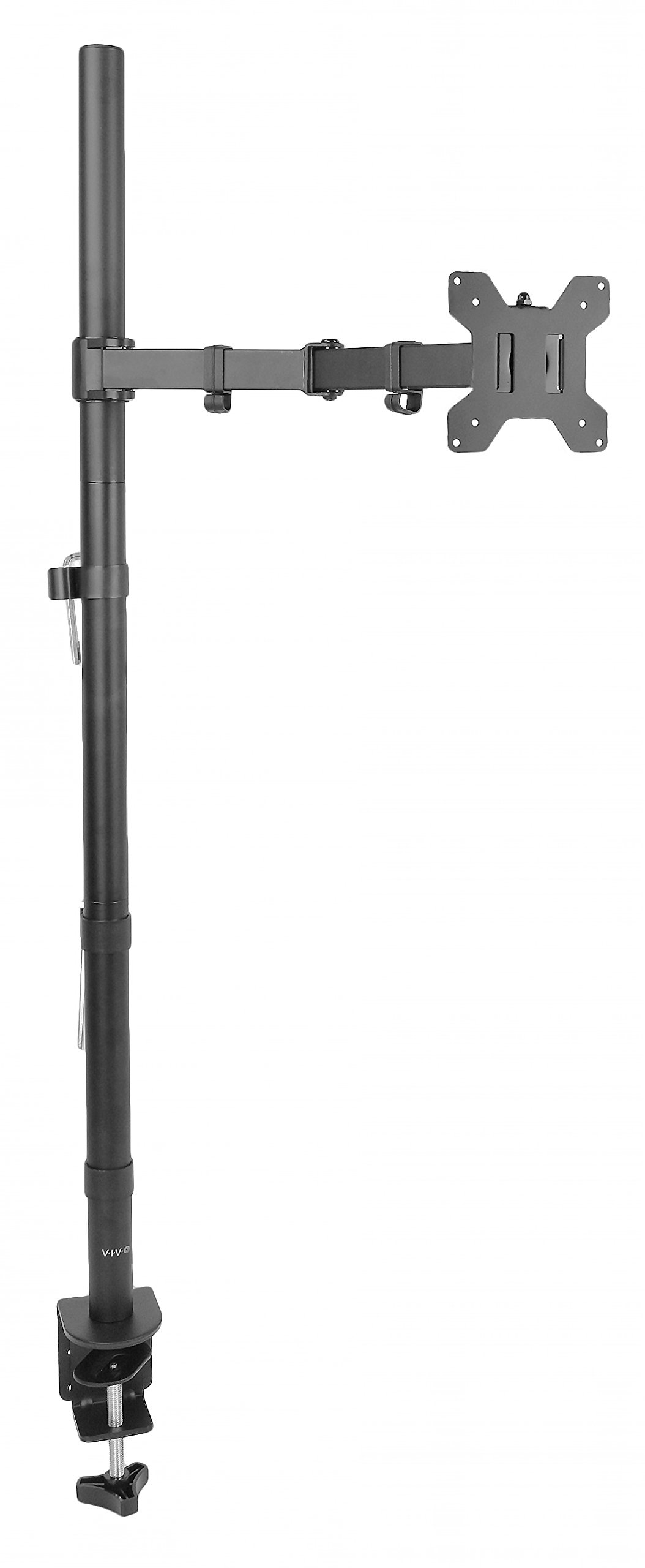 VIVO Single Monitor Stand up Mount Extra Tall 39'' Pole Adjustable Stand / Fits One Screen up to 27'' (STAND-V011)
