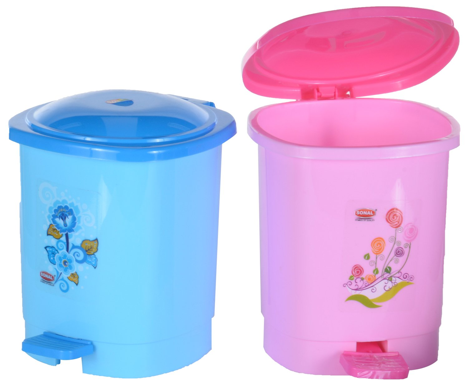 SONAL Plastic Set of Two Small Pedal Bins / Dustbins / Trash Cans ...