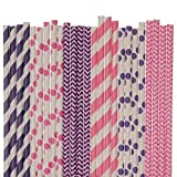 Pink and Purple Paper Straw Mix (50)