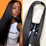 CHEETAHBEAUTY Brazilian Straight Lace Front Wigs Human Hair 13x4 Lace Front Wig For Black Women Pre Plucked with Baby Hair Natural Black 150% Density (10inch)