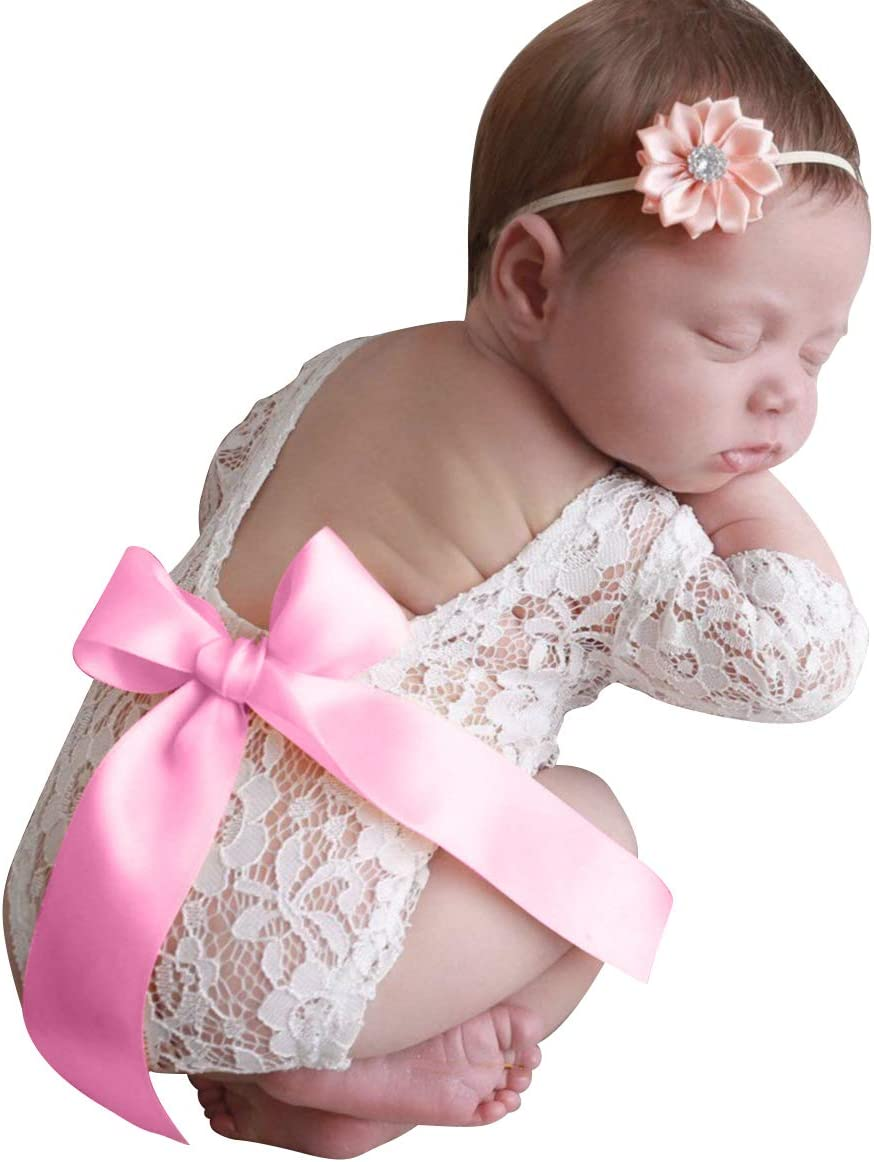 DaMohony 2 Pieces Newborn Baby Lace Romper Headband Photography Accessories for Kids Photo Session Clothes 2pcs pink