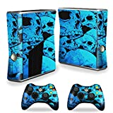 Cheap MightySkins Protective Vinyl Skin Decal Cover for Microsoft Xbox 360 S Slim + 2 Controller skins wrap sticker skins Blue Skulls