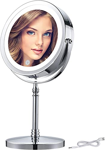 BRIGHTINWD 7X Rechargeable Magnified Lighted Makeup Mirror 7 Inch Double Sided LED Vanity Mirror with Magnification, Magnifying Mirror with Lights for Bathroom or Bedroom, Brightness Adjustable