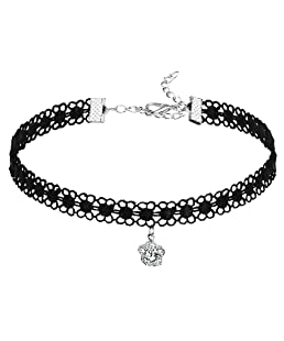 Daesar Womens Lace Floral Gothic Tattoo Flower Cubic Zirconia Silver Black Choker Necklaces, 31.7+7CM