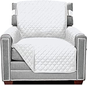 Sofa Shield Original Patent Pending Reversible Chair Protector, Many Colors, Seat Width to 23 Inch, Furniture Slipcover, 2 Inch Strap, Chairs Slip Cover Throw for Pet Dogs, Cats, Armchair, White