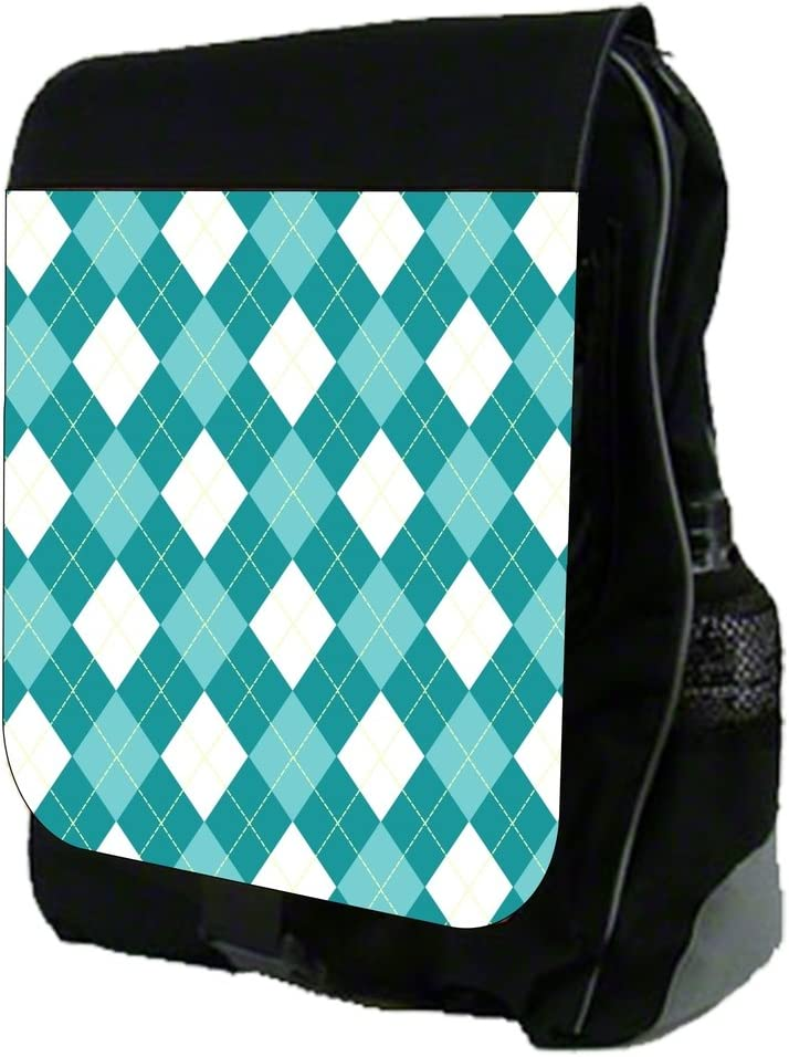 Blue and White Argyle Pattern TM School Backpack