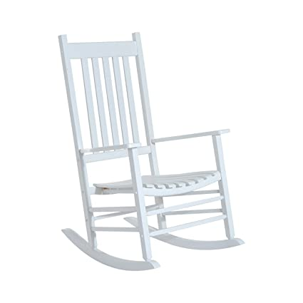 Prime Outsunny Porch Rocking Chair Outdoor Patio Wooden Rocker White Pdpeps Interior Chair Design Pdpepsorg