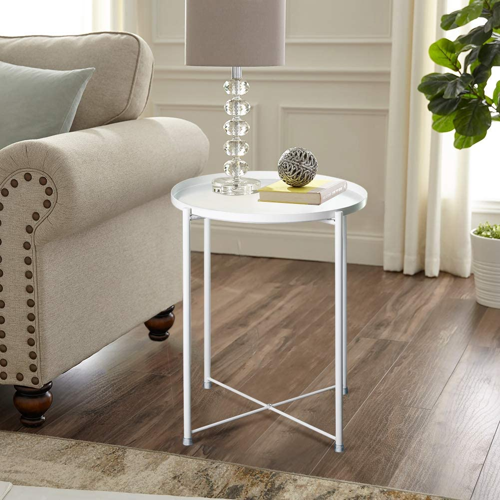 Inmozata Metal Side Table Coffee Table Round End Table Small For Living Room Bedroom Amazon Co Uk Kitchen Home