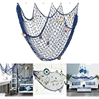 Nautical Decorative Fishing Net,Rosoz Sea Theme Fish Net Decor for Party/Wall Decoration Background,Blue,79inch x 59inch
