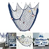 Nautical Decorative Fishing Net,Rosoz Sea Theme Fish Net Decor for Party/Wall Decoration Background,Blue,150x200cm