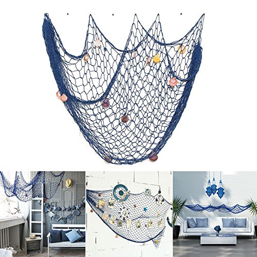 Nautical Decorative Fishing Net,Rosoz Sea Theme Fish Net Decor for Party/Wall Decoration Background,Blue,150x200cm by Rosoz