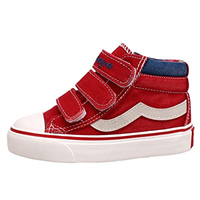 Popuus Baby Boy's Girl's High Top Unisex Skateboard Shoes Canvas Shoes