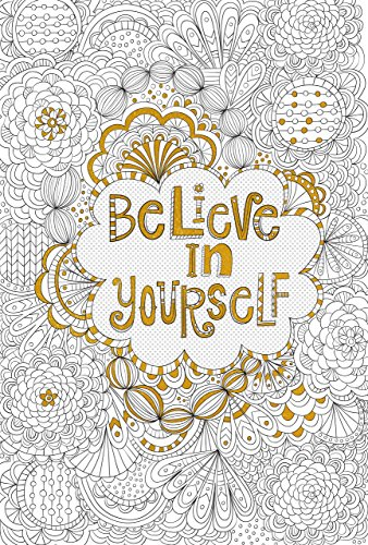 Believe in Yourself Gold Foil Coloring Poster (Studio)