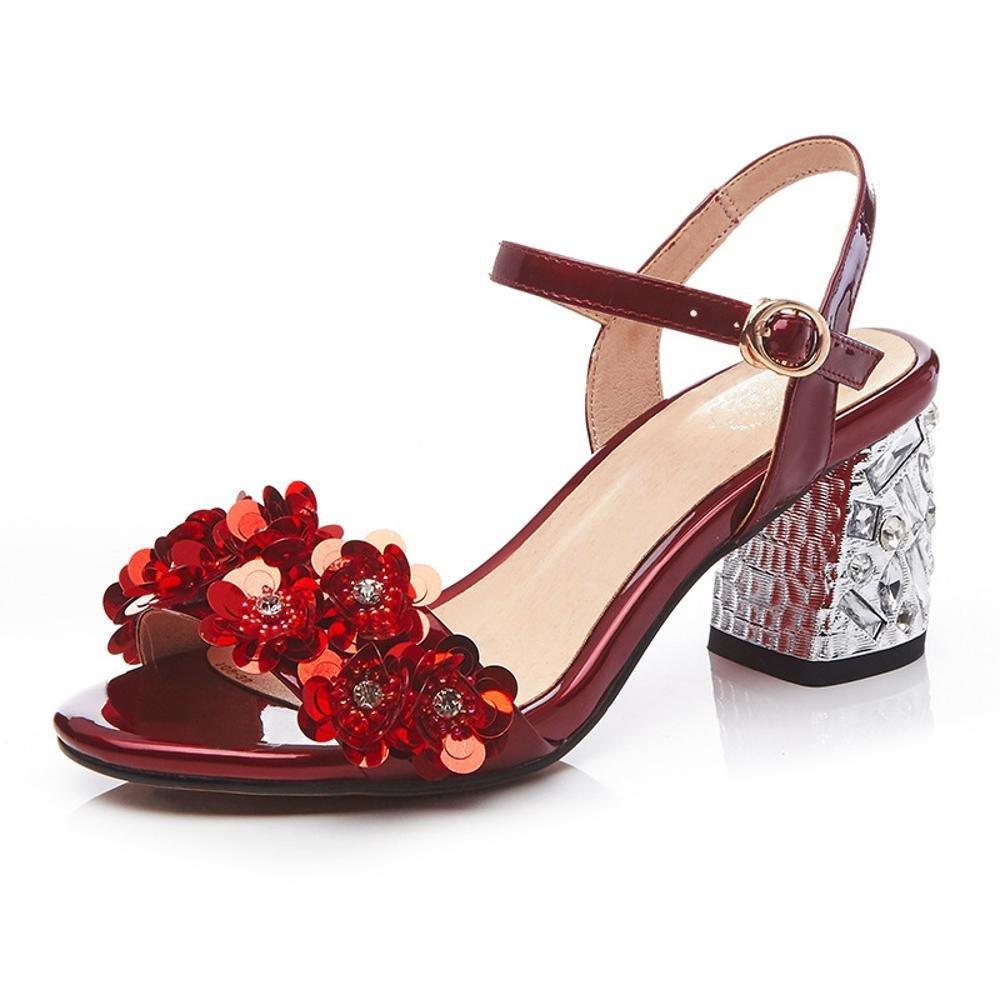 ZHRUI Zapatos de Tacón A5585 Mujer Flores Rhinestone Sandalias Todos los Días Ceremonia de la Boda Comercio Altura del Tacón 6.5cm Plata, Rojo EU37/UK4.5-5/CN37|Silver