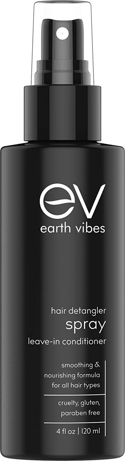 Earth Vibes Natural Hair Detangler, Leave-In Conditioner Spray For Kids & Adults - All Hair Types - Color Safe Cruelty, Sulfate - Paraben Free - Made With Organic Jojoba And Avocado Oil