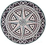AMERIQUE Luxury Polished Hand Cut Marble Mosaic Medallion Floor Tile, Round Shape, Ready To Install, 40'' L x 40'' W