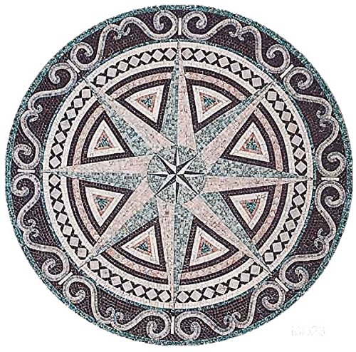 AMERIQUE Luxury Polished Hand Cut Marble Mosaic Medallion Floor Tile, Round Shape, Ready To Install, 40'' L x 40'' W by AMERIQUE (Image #1)