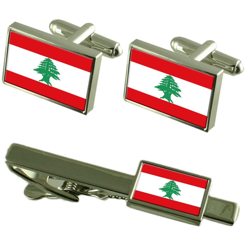 Lebanon Flag Cufflinks Tie Clip Matching Box Gift Set