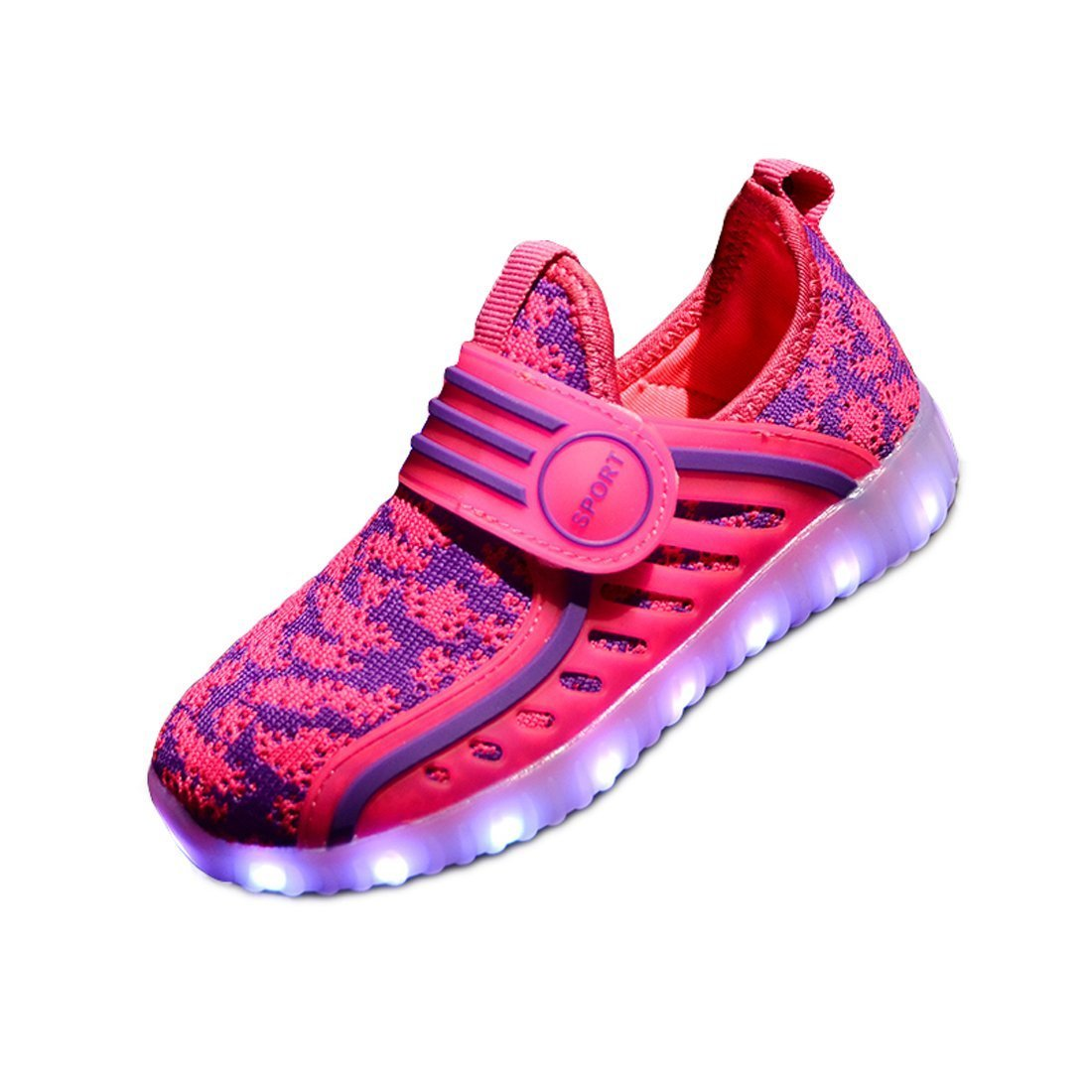 LED Light Up Shoes Flashing Sneakers for Kids Boys Girls for Christmas Halloween Gift(Pink 4 M US Big Kid)