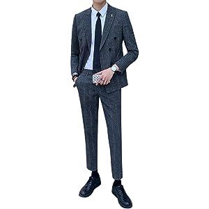 [Mirroryou(ミラーユー)] メンズ スーツ 上下セット ダブルブレスト 2XL