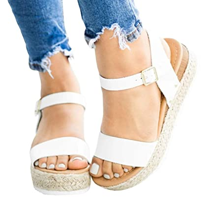 808cfb7594f Amazon.com: Ecolley White Sandals for Women Flat Leather Fashion ...