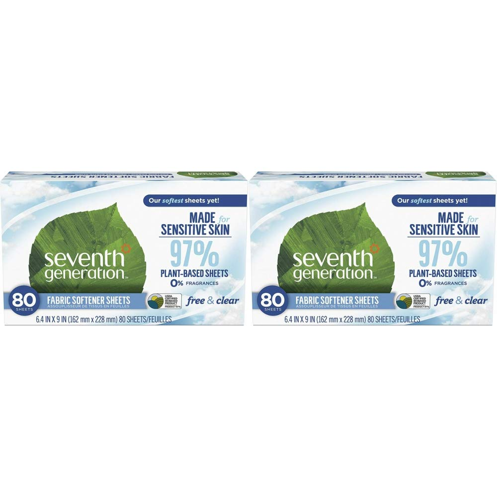 Seventh Generation Fabric Softener Sheets, Free & Clear, 80 Count, Pack of 2 (Packaging May Vary)