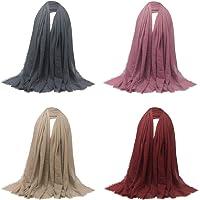 Abbraccia 4 Pack Women's Soft Long Scarf Pleated Hijab Shawl Jewish Head Scarves