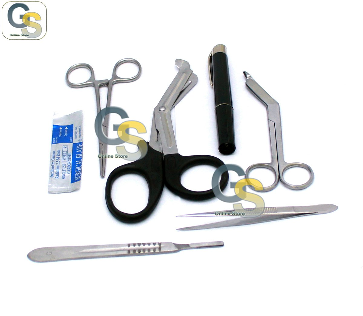 6 PCS FIRST AID RESPONSE KIT WITH 5 SCALPEL HANDLE BLADE #20 (GSI BRAND) by GSI