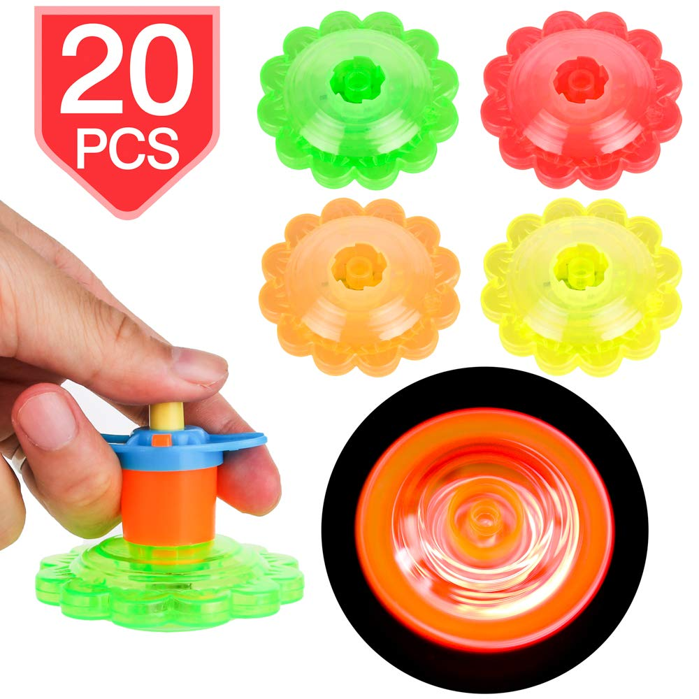 PROLOSO 20 Pcs Light Up Spinning Tops Flashing Gyro LED Gyro Fidget Spiral Twister Toys Bulk Toys Glow in The Dark Party Favors by PROLOSO