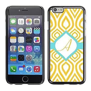 Caucho caso de Shell duro de la cubierta de accesorios de protección BY RAYDREAMMM - Apple iPhone 6 - A Initial Teal Green Gold Pattern