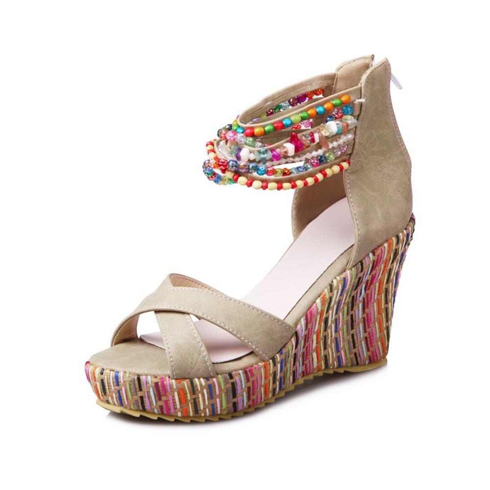 Sandaletten High Heels Plateau Bouml;hmisch Sommer Wedges Schuhe Keilabsatz Peeptoe Pumps Perlenketten Damen  41 EU|Beige