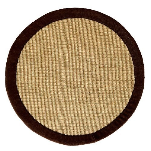 Acura Rugs Natural Jute Collection Transitional Style Hand Woven Round Area Rug, 6', Brown