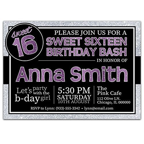 Sparkle Purple Sweet Sixteen 16 Birthday Party Invitations by Paper Blast