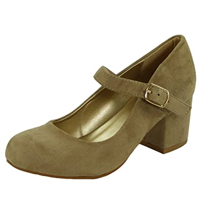 5b4578f0398 Womens Ladies Mary Jane Strap Office Work Comfy Low Mid Heel Court Shoes  Size 3-8  Amazon.co.uk  Shoes   Bags