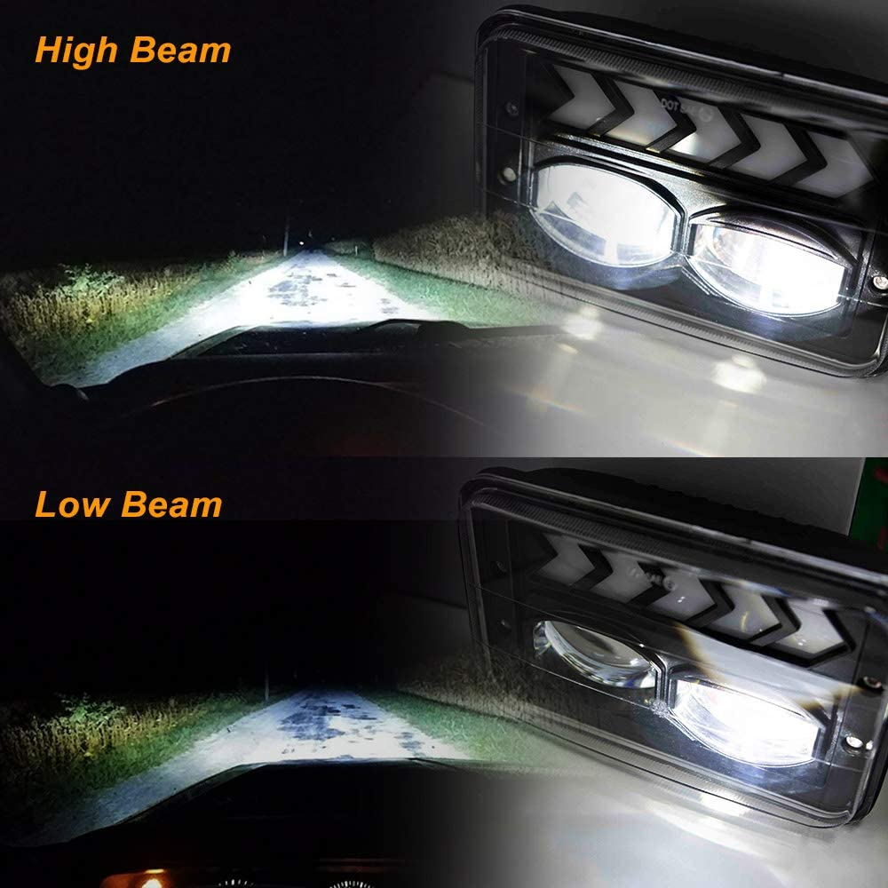 NSLUMO 7x6 Led Headlights 40W Square 5x7 inch Headlights with White DRL /& Amber Arrow Dynamic Sequential Turn Signal H6054 Headlamp for Jeep Wrangler YJ Cherokee XJ Chevy Toyota Pickup GMC Trucks