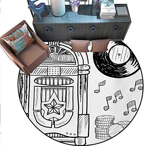 Jukebox Round Rug Kid Carpet Doodle Style Retro Music Box Notes Coins Long Play Vintage Sketchy Artwork Circle Rugs Living Room (71