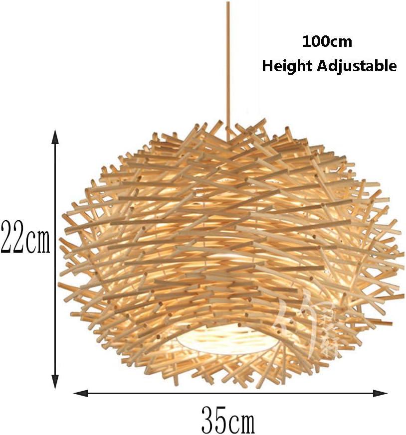 Lustre nid doiseau lustre famille caf/é bar plafond lampe /à manger lustre d/éclairage lampes en bois tiss/é de rotin,30CM