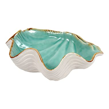Scallop Shell Shaped Serving Bowl Teal and White Ceramic 10 Inches