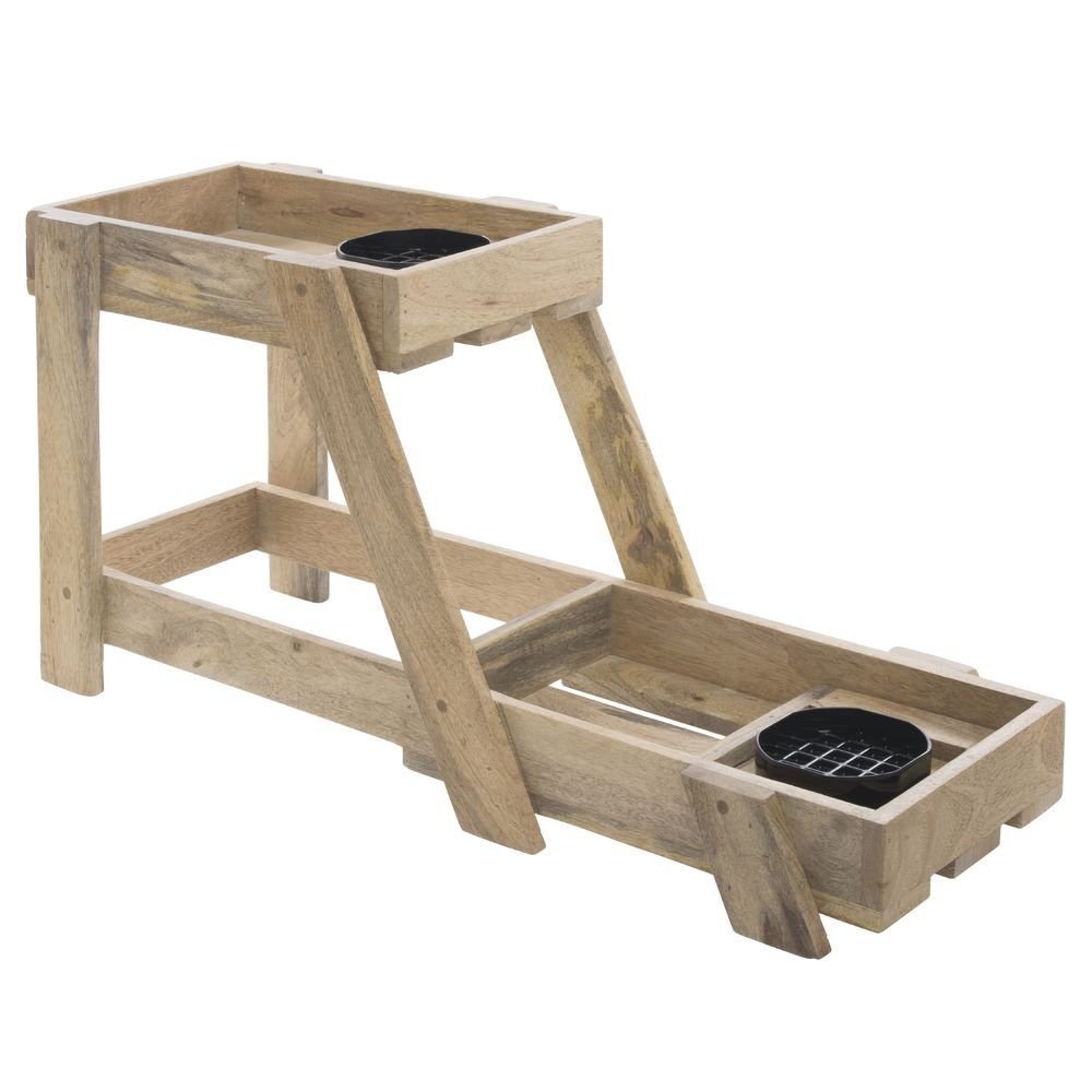 Expressly HUBERT Mango Wood Double Stack Airpot Holder - 9''L x 27 1/2''W x 13 3/16''H