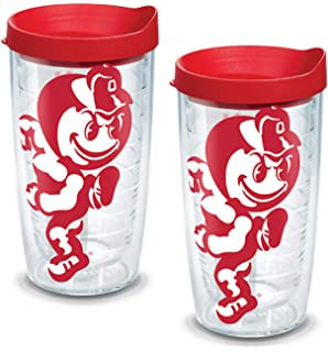 Clear Tervis 1131120 Liberty Flames Mascot Colossal Tumbler with Wrap and Red Lid 2 Pack 16oz