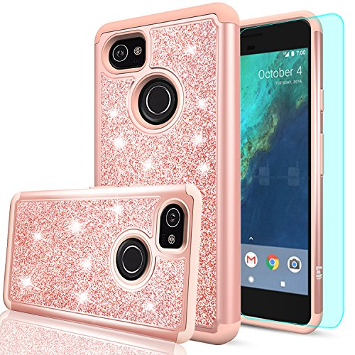 Price comparison product image Google Pixel 2 XL Case,Google Pixel XL 2 Case with HD Screen Protector,LeYi Hybrid Heavy Duty Protection Cute Girls Women Shockproof Glitter Bling Phone Case for Google Pixel 2 XL (2017) TP Rose Gold