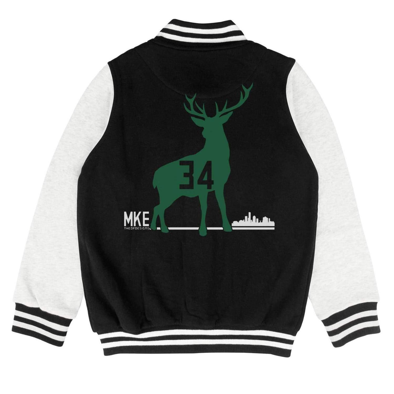 Goat 34 Greek Freak Kids Varsit Classic Baseball Jacket for 2-10 Y