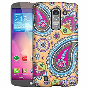 LG G Pro 2 Case, Slim Fit Snap On Cover by Trek Fun Paisleys on Peach Case